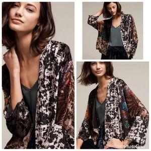 Anthropologie Floreat Velvet Kimono